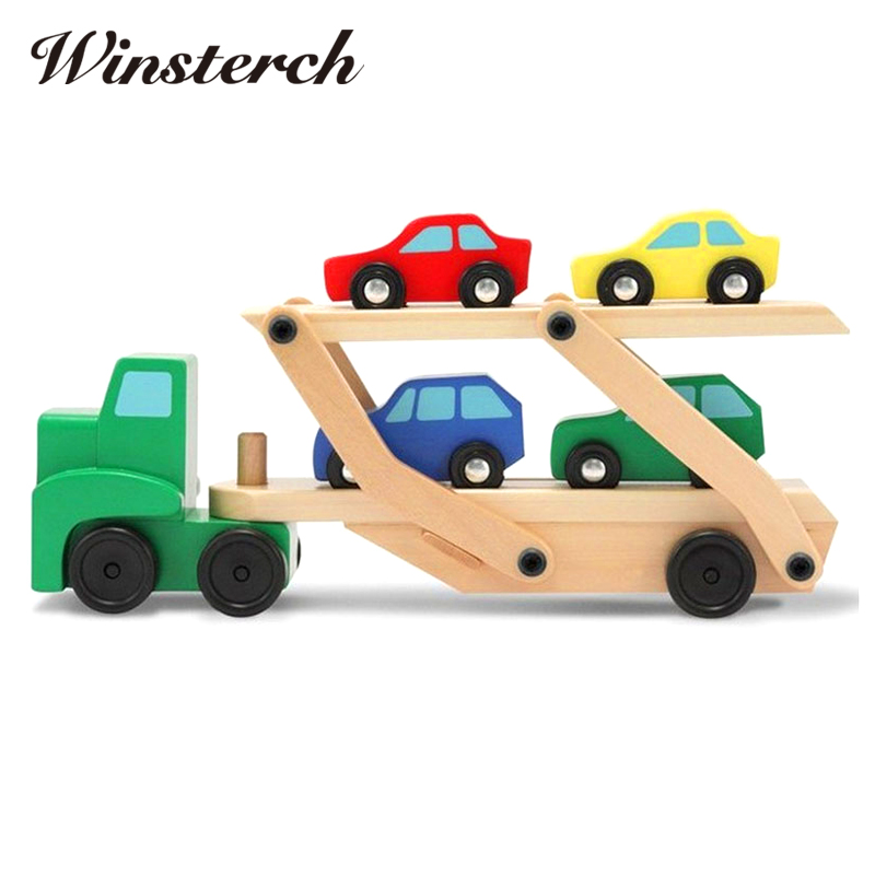 2017 Baby DIY Wooden Truck Toy Children Kids Early Educational Diecasts Toys Colorful Vehicle Blocks Set ZS059 kids children wooden block toy gift wooden colorful tree marble ball run track game children educational learning preschool toy