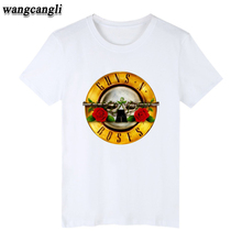 Guns N Roses Rock Band Short Sleeve T-shirt Women HipHop TShirts with Punk Music Funny T Shirts for Men in White Tee Shirt Brand