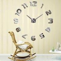 2017 חדש קישוט בית שעון קיר שעון קיר מודרני עיצוב שעון קיר דבק עצמי מדבקת קיר diy מתנה ייחודית