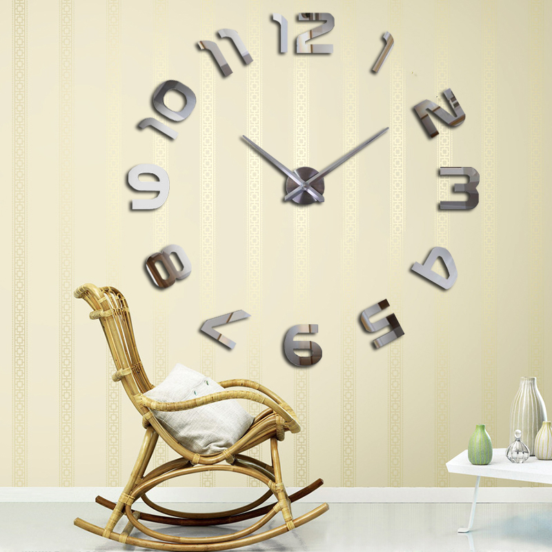 Happy 2019 New Home decoration wall clock large wall clock Modern design self adhesive wall clock diy wall sticker unique gift