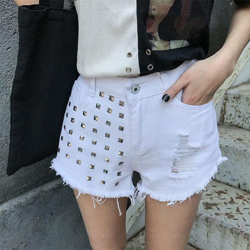 Summer Women Denim   Shorts   Tassels Ripped Rivet High Waist Girl Casual   Short   Jeans AIC88