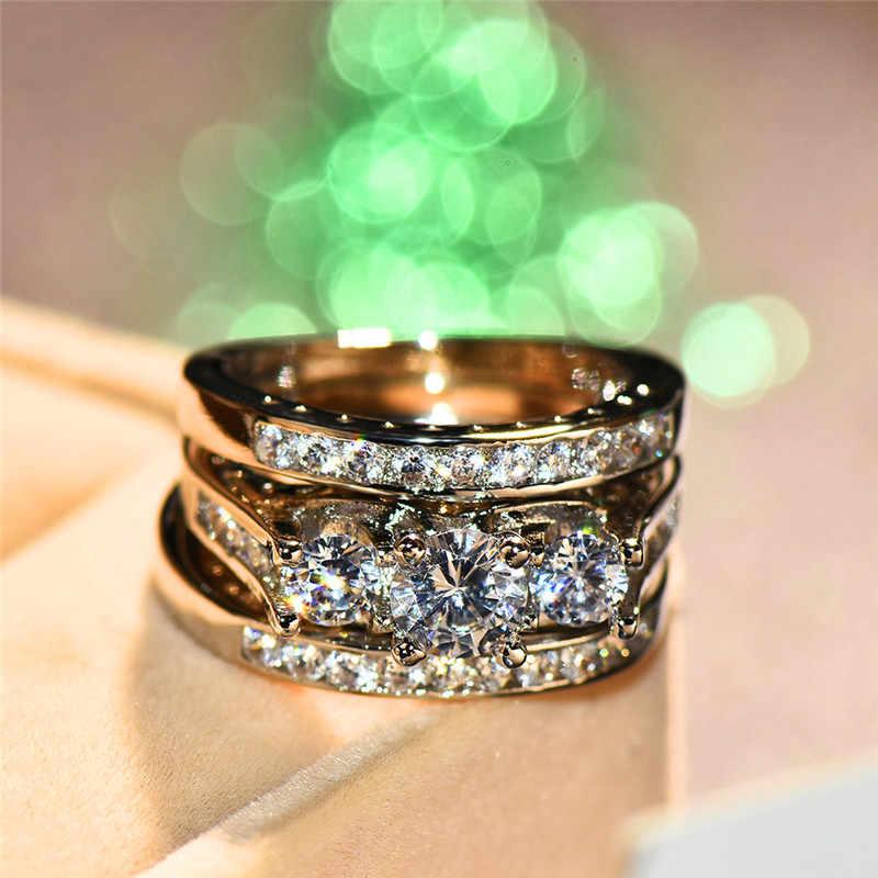Luxo feminino grande anel de pedra conjunto moda prata cor nupcial anel de noivado promessa cristal zircon anéis de casamento para mulher