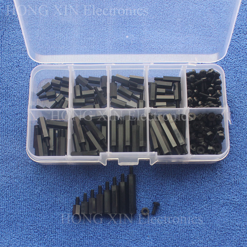 240Pcs M2.5 Black Male-Female Hex Nylon Spacers PCB Threaded Screws nuts Bolt Assortment kit set Standoff Box Best Quality 150pcs m3 white hex spacers nylon screw nut washer assortment standoff kit stand off plastic