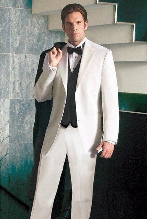 На заказ бестселлеры популярные белый жених мужчин костюм с черным жилет, заказ белый смокинг, с учетом 2 кнопки пик нагрудные мужчины костю...