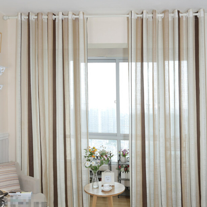 3 Piece Faux Cotton Espresso Brown Kitchen Window Curtain: European Cotton Linen Curtain Coffee Striped Design Window