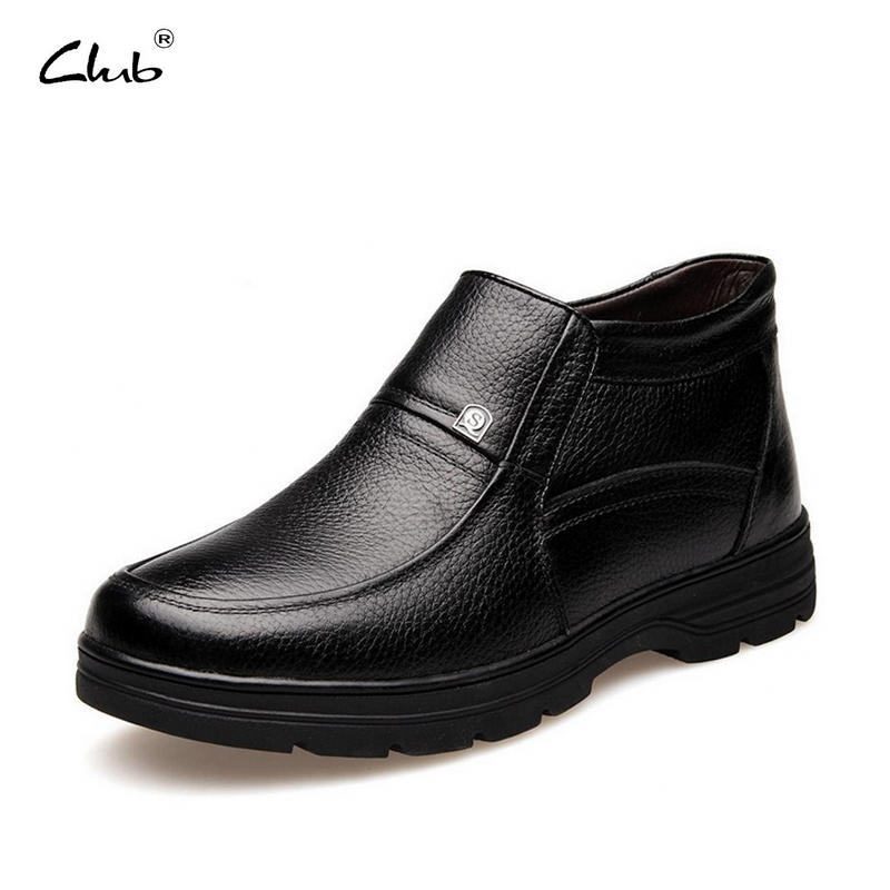 Club Men Boots 100% Genuine Leather Winter Shoes High Quality Casual Boots Plush Inside Keep Warm Ankle Boots Plus Size 38-47 top brand high quality genuine leather casual men shoes cow suede comfortable loafers soft breathable shoes men flats warm