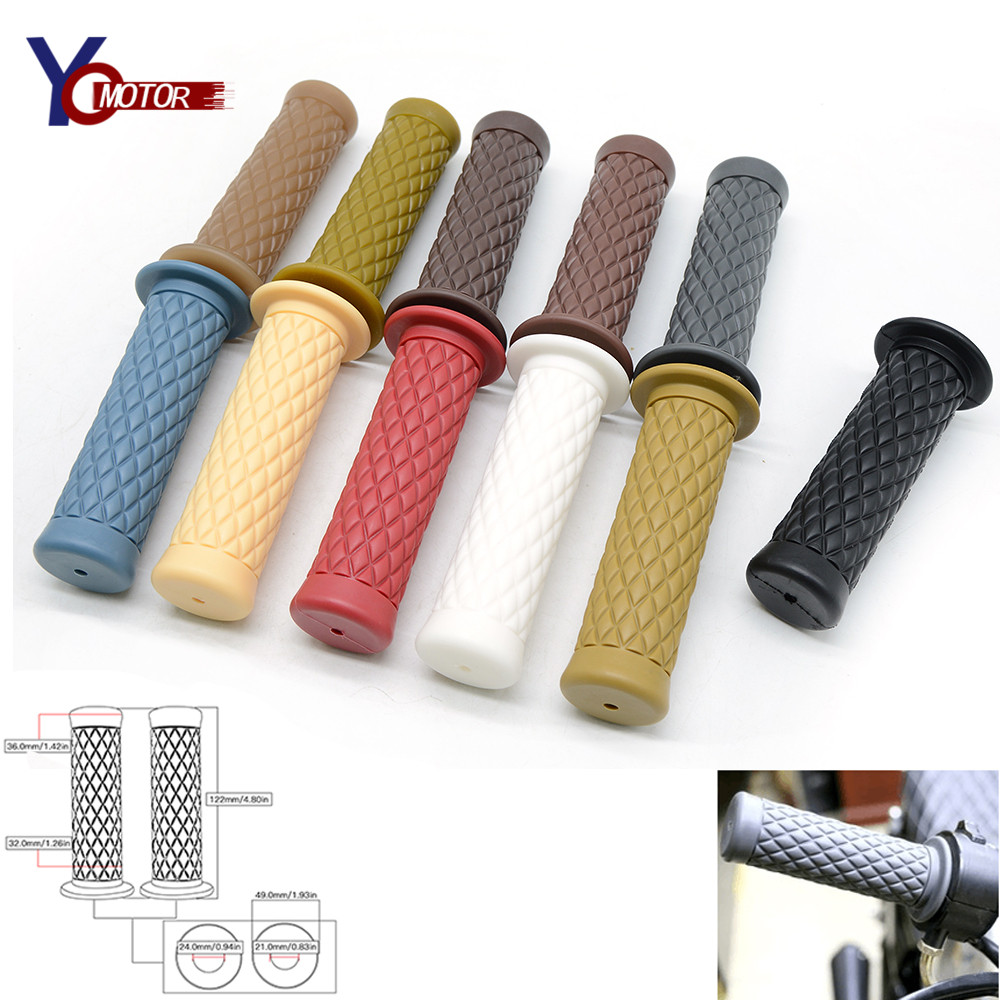 FOR Suzuki TU250 Royal Enfield  GT Vintage Motorcycle Rubber Handlebar Hand Grips Rubber Handle Bar Grips Cafe Racer