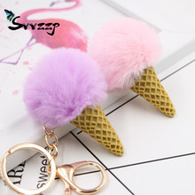 Lovely Fluffy Fur Ice Cream Keychain Artificial Rabbit Fur Key Fur Ball Pompom Bag Charms With Chains Keyring Car Bag Charms(China)