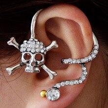 1PCS Skull Ear Cuff Earrings for Women Vintage Punk Personality Rhinestone Wrap Cuff Earrings