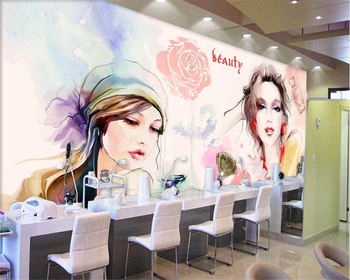 beibehang Custom wallpaper watercolor beauty beauty shop nail shop background wall clothing store home decoration 3d wallpaper цена 2017