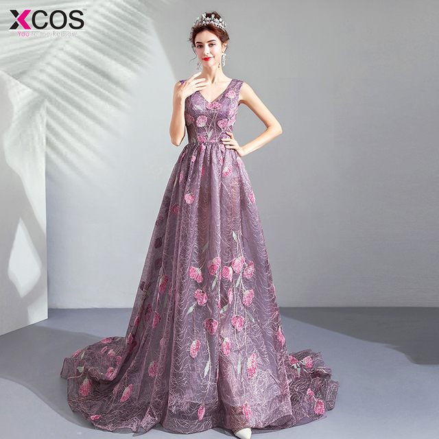 a8724de96d6 Long Purple Pink Evening Dresses 2019 A-Line Flower Tulle Party Gowns V Neck  Vestido da dama de honra