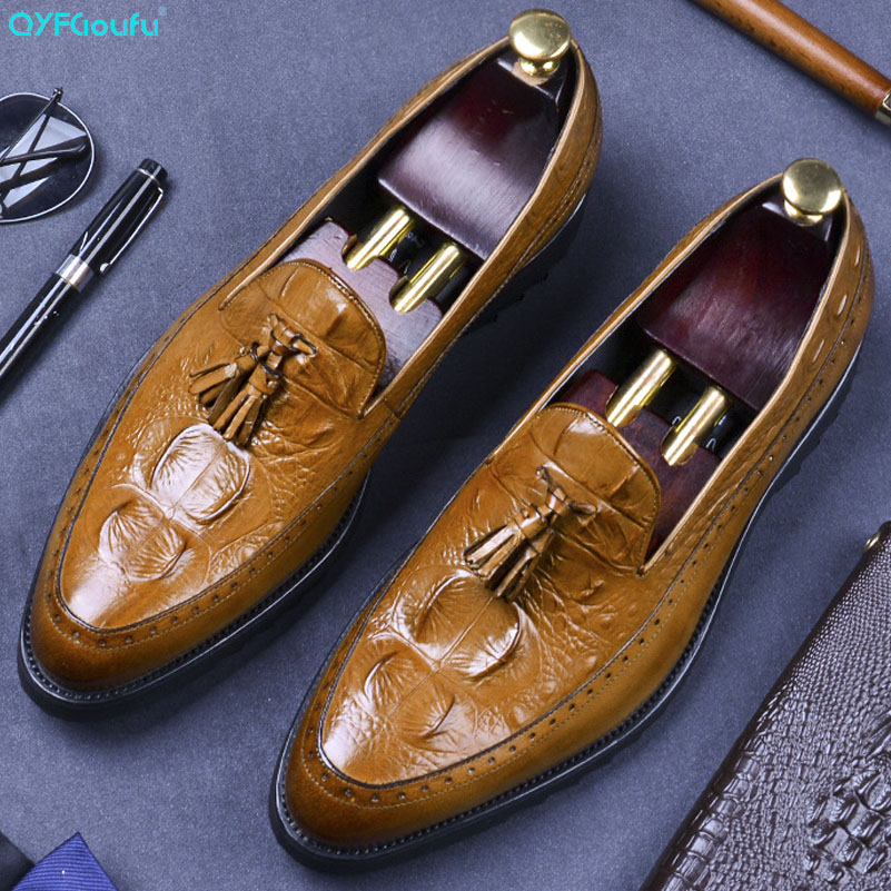 QYFCIOUFU Men Penny Loafers Tassel Shoes Genuine Leather Elegant Wedding Party Casual Mens Dress Shoes Crocodile Pattern Flats in Formal Shoes from Shoes