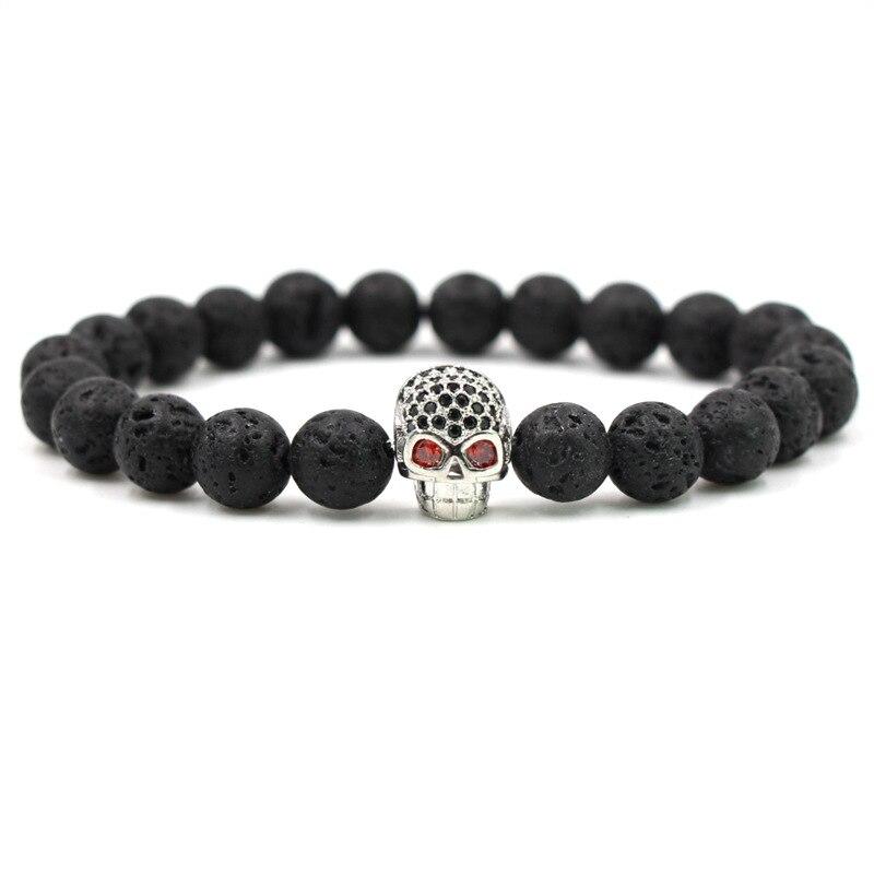 HOBBORN Trendy Punk Skull Men Bracelet Handmade 8mm Lava Stone Strand Natural Stone Bracelets Hip Hop Mens Women Jewelry Bijoux in Charm Bracelets from Jewelry Accessories