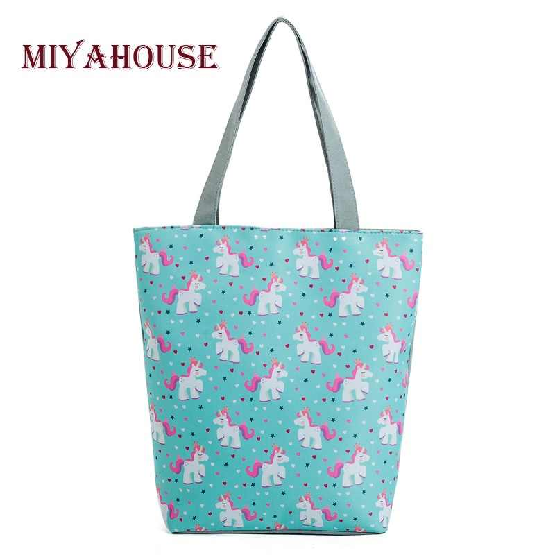 Miyahouse Lovely Unicorn Printed Shoulder Bag Women Cartoon Design Casual Tote Handbag Lady Summer Beach Bag For Girls