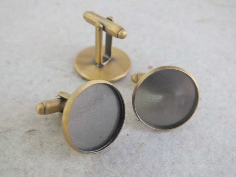 Cufflink Blank French Findings Pad Bronze Z-3379 Antique 12mm