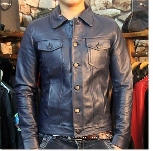 Image 1 - Free shipping.2018 new Brand man business 100% leather Jackets mens genuine Leather slim jacket.autumn fashion casual sal