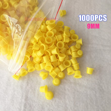 1000PCS Disposable Tattoo Pigments Cups Yellow Permanent Makeup Ink Cups Small Size 9MM Tattoo Equipment Accessory