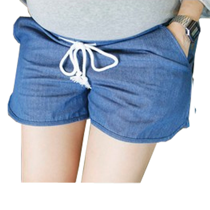 Maternity Denim Shorts Summer Pregnant Prop Belly Pants Thin Casual Loose Pants 2Colors 0172