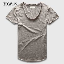 Zecmos Fashion Men T-Shirt With V Neck T Shirts For Men Male Luxury Cotton Plain Solid Curved Hem Top Tees Short Sleeve