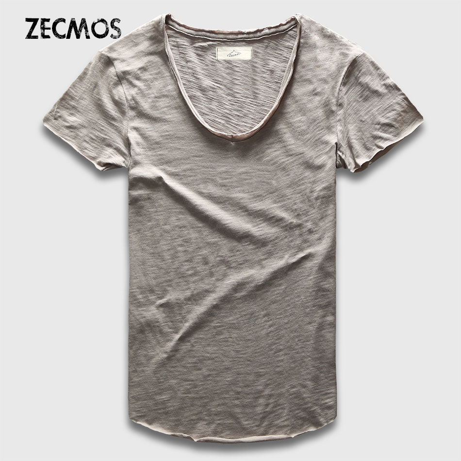 Zecmos Fashion Men   T  -  Shirt   With V Neck   T     Shirts   For Men Male Luxury Cotton Plain Solid Curved Hem Top Tees Short Sleeve