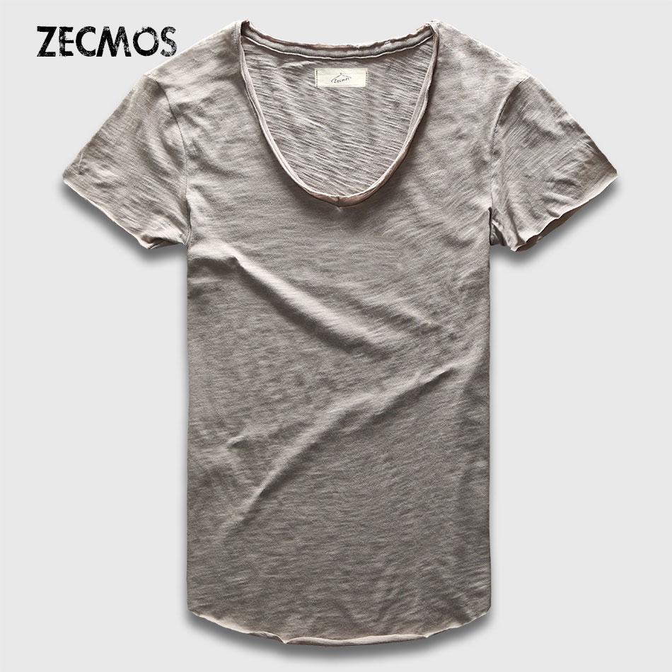 Zecmos Moda Uomo T-Shirt Con Scollo A V Magliette Per Gli Uomini maschile di Lusso di Cotone Pianura Solido Curved Hem Top Tees Manica Corta