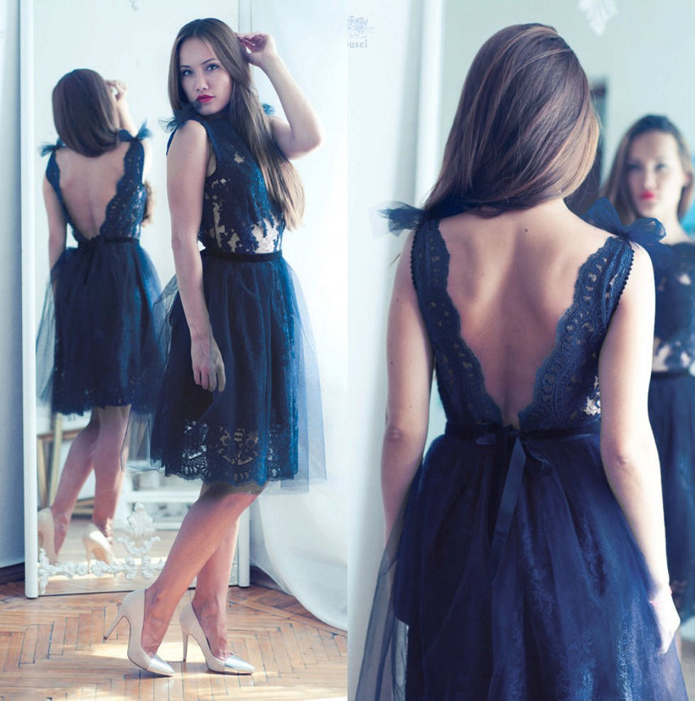 Elegant Dark Navy   Cocktail     Dresses   Open Back Knee Length Short Prom   Dress   Lace Evening Party Gowns 2019 Cheap