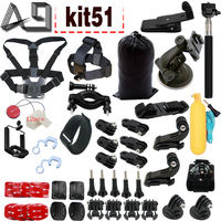 A9 For 2017 New Basic Gopro Accessories Set for Gopro hero 5 hero4 session 4 3 plus SJ4000 Xiaomi Yi 4k WIFI Action Camera