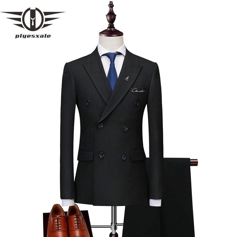 Plyesxale 더블 브레스트 양복 남자 2018 슬림 맞는 망 정장 바지 블랙 그레이 남자의 결혼식 신랑 자 수 정장 2 pcs q186-에서정장부터 남성 의류 의  그룹 1