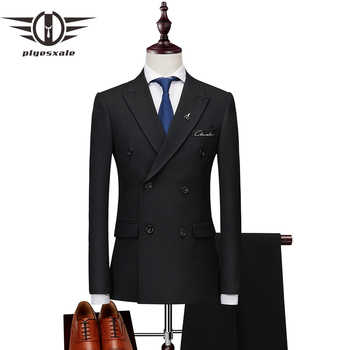 Plyesxale Double Breasted Suit Men 2018 Slim Fit Mens Suits With Pants Black Grey Men\'s Wedding Groom Embroidery Suits 2PCS Q186 - DISCOUNT ITEM  40 OFF Men\'s Clothing