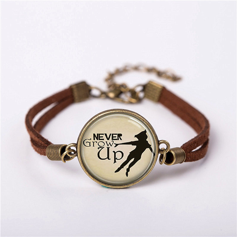 Movie Never Grow Up Peter Pan Quote Pendant Jewelry Vintage Fashion Leather Bracelet Gift Women Chain Men Necklace Free shipping