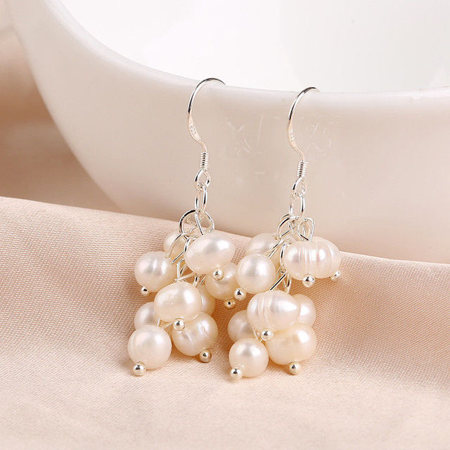 94bdaebe2 Natural Real Fresh water Pearl Cluster Dangle Earrings-in Drop ...