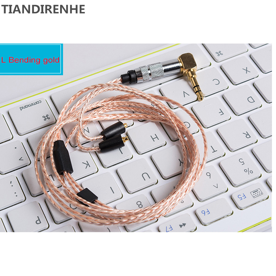 TIANDIRENHE MMCX For Shure SE535 SE215 Upgrade Cables Single Crystal Copper Silver Earphone Cable HiFi Earphone Wire for Samsung tiandirenhe 14
