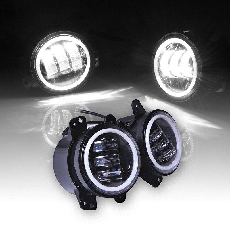 Pair 60W 4 Inch Led Fog Light White Halo Ring & White Lamp DRL Angle Eyes for Jeep Wrangler JK LJ TJ Headlight pair of 9 led fog light bright white lamp left