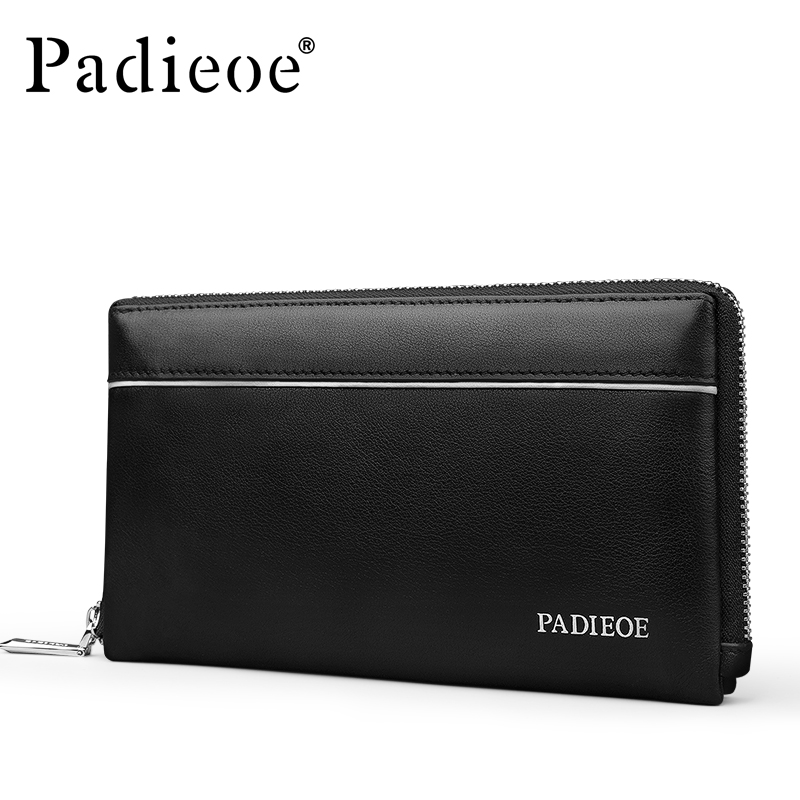 купить Padieoe New Design Fashion Genuine Leather Men Wallets Long Business Male Clutch Wallet Brand Purse по цене 5426.2 рублей