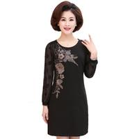 Middle Aged Women Black Dresses Flower Embroidery Robe Femme Spring Dot Polka Sleeve Dress Woman Casual Side Zipper Vestidos 4XL