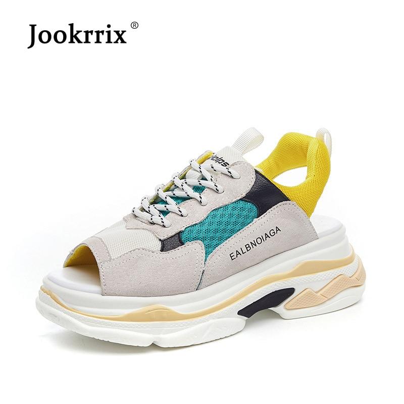 Jookrrix 여성 스포츠 샌들 2019 여성 플랫폼 비치 샌들 패션 브랜드 웨지 높은 6 cm 샌들 chunky 신발 블랙-에서하이힐부터 신발 의  그룹 1