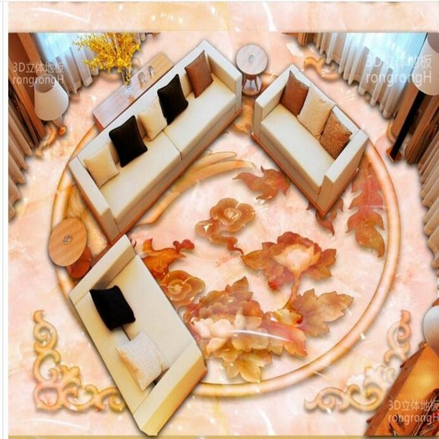 Beibehang Custom Personality Phoenix Jade Carving Relief 3d Floor
