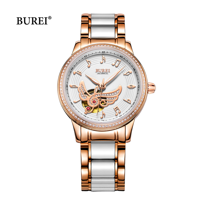 Relogio Feminino BUREI Luxury Watch Waterproof Sapphire Crystal Automatic Mechanical Ladies Wrist Watch Clock Women Gold 2017