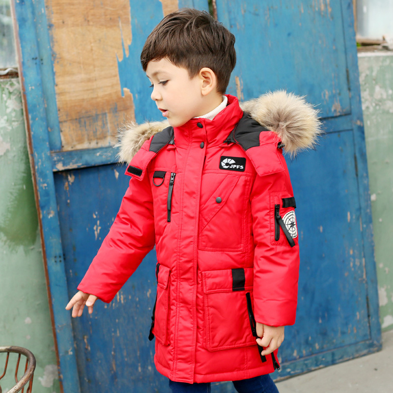 2017 New Winter Down Jacket For Boys Outerwear Long Coats WIth Fur Collar Children Outwear Thicking Warm Parkas Kids Clothes 15Y 2017 new baby girls boys winter coats jacket children down outerwear warm thick outdoor kids fur collar snow proof coat parkas