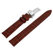 Calidad Unisex Hebilla de Correa De La Mariposa Broche de Cuero Genuino Reloj Band 18-24mm Negro Marrón Correa de Cuero Al Por Mayor