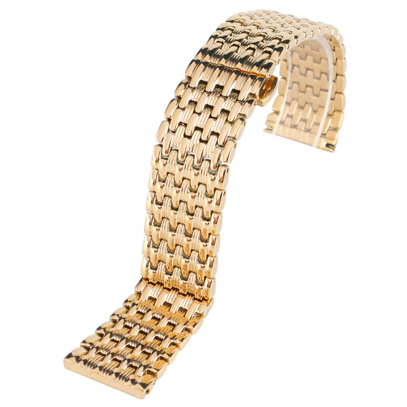 Image 5 - 18mm 20mm 22mm מוצק זהב שעון להקות רצועת השעון מתכוונן החלפת אופנה צמיד + 2 אביב בריםרצועות לשעוןשעונים -