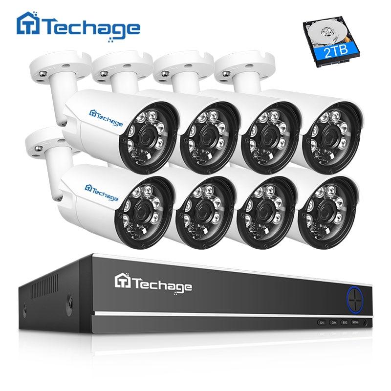 Techage 8CH 4MP HD CCTV Camera System AHD DVR Kit 8PCS 4MP IR Night Outdoor Security Camera P2P Video Surveillance Kit 2TB HDD