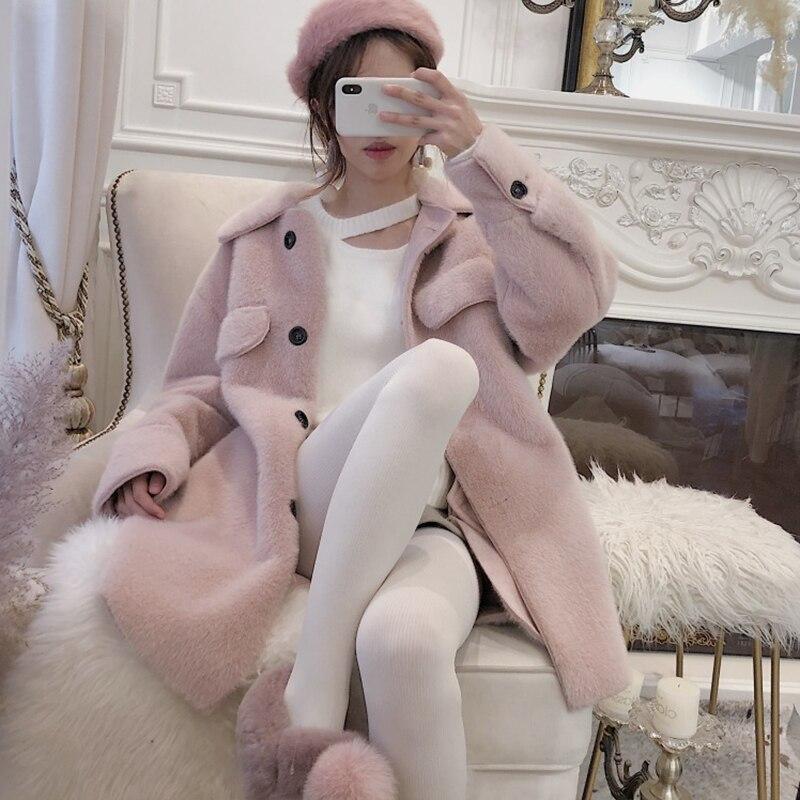 Faux haute qualité fourrure herbe Vison de manteau femmes vestes femme veste en laine dames En Peluche manteau femme pardessus d'hiver veste chaude