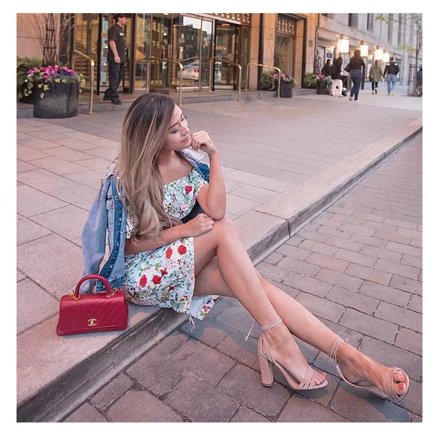 2018 explosion fashion print dress sexy word shoulder knees ladies dress fashion wild split dress