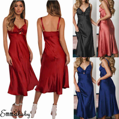 2019 Sexy nữ Cổ Chữ V Váy Ngủ Lụa Satin Đồ Ngủ Áo Choàng Dài Đêm Quần Áo Váy Xanh Đen Đỏ Hồng purpleS-2XL