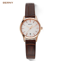 BERNY Women Sport Watch Black Gold Fashion Watch Famous Brands Quartz Ladies Wrist Watches the Best Luxury Leatherd Clock 2602L