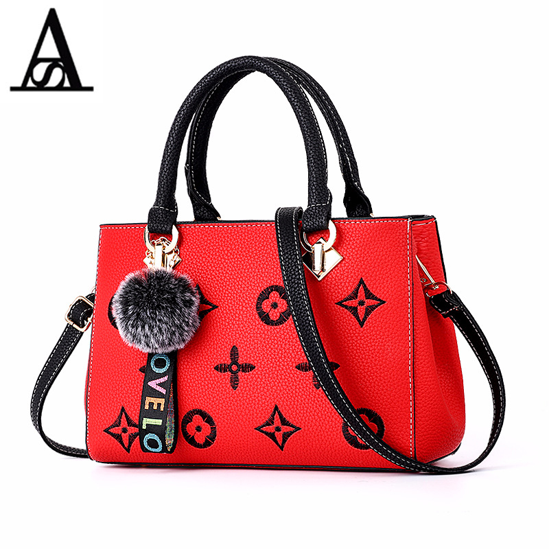 AITESEN Fluffy Ball Embroidery Handbag Fashion Luxury Brand Ladies Single Shoulder Luis Vuiton O Bag David Jones Bolsas Feminina ...