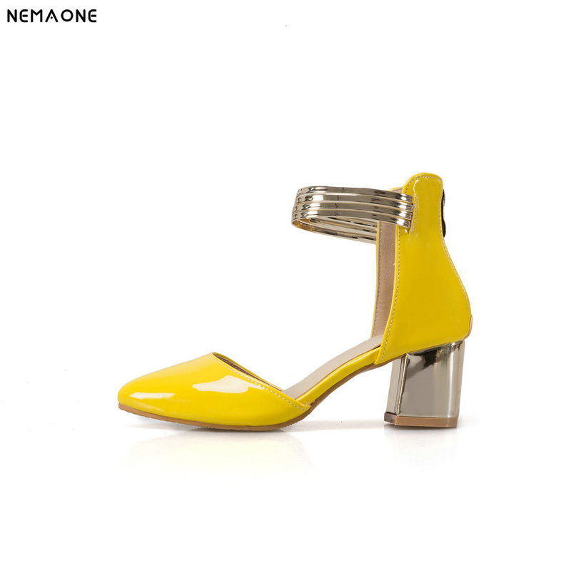 NEMAONE Women Pumps Thick High Heels Shoes Woman Summer Style Women Shoes Black Beige Rose Yellow