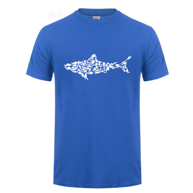 Funny Birthday Gifts For Men Dad Father Son Boy Friend Brother Shark Scuba Diver T Shirt Tee Divinger Dive Cotton Joke Shirts