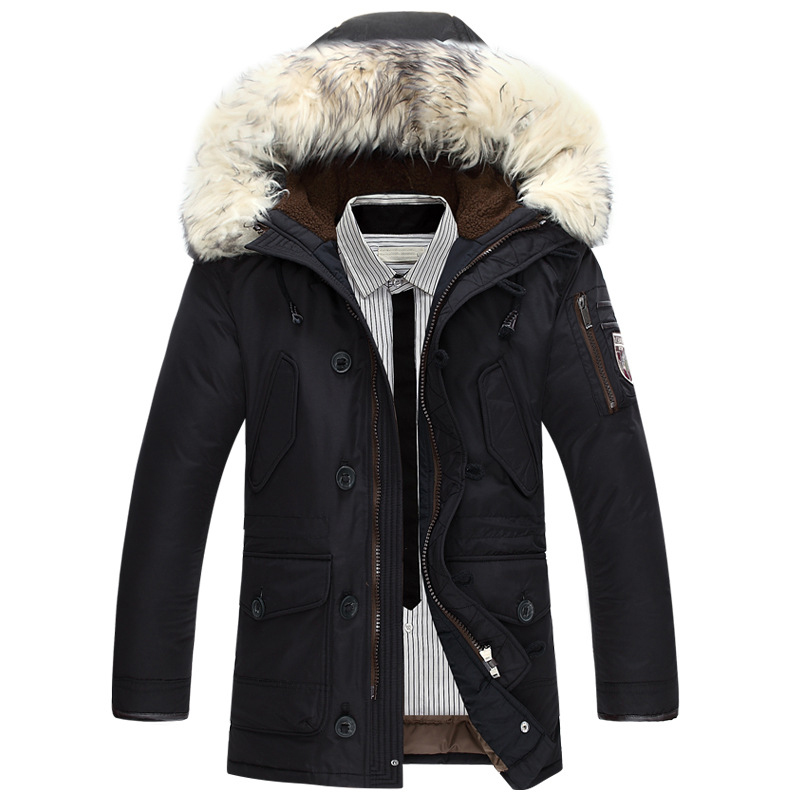 New Brand Winter Jacket Men 90% White Duck Down Jacket Thick Keep Warm Men Down Jacket Fur Collar Hooded Down Jackets Coat Male(China)